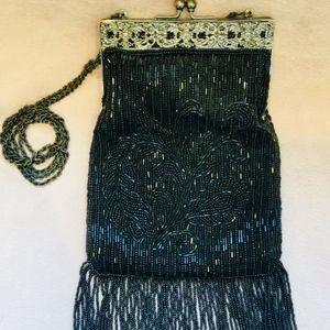 Vintage black hand beaded evening purse